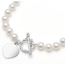 Cultured Pearl Toggle Necklace with Sterling Silver Heart