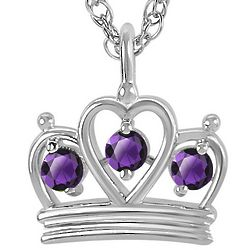 Personalized Sterling Silver Crown Birthstone Pendant