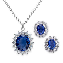 11.5 Carat Simulated Tanzanite Earring and Pendant Set