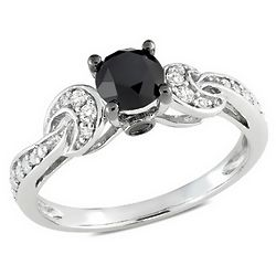 Black and White Diamond 10K White Gold Ring