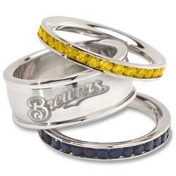 Stainless Steel and Crystal Stacked Milwaukee Brewers Rings