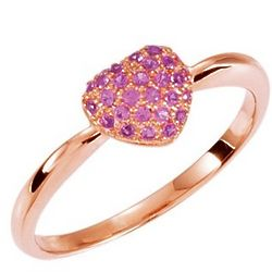 Rose-Plated Gold Pink Sapphire Heart Promise Ring