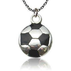 Silver And Black Soccer Ball Necklace