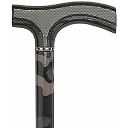 Camouflauge Carbon Walking Cane with Mesh Fritz Handle And Collar