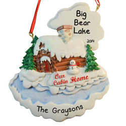 Our Cabin Home Personalized Christmas Ornament