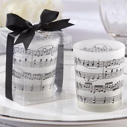 Music Notes Frosted Glass Tea Light Holder Favors