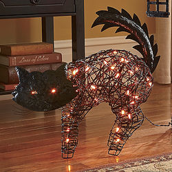 Halloween Lighted Wire-and-Vines Cat