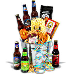Microbrew Beers and Beef Jerky Gift Basket