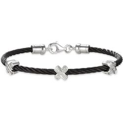 Black Stainless Steel Cable Bracelet with Diamond X Stations