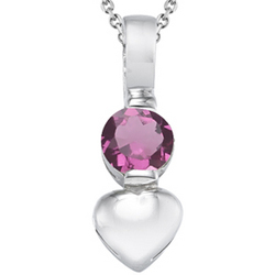 Pink Tourmaline Solitaire Pendant in Silver