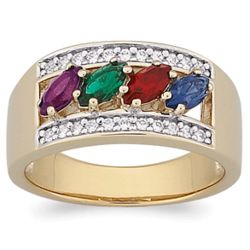 18K Gold Over Sterling Mother's Marquise Birthstone Ring