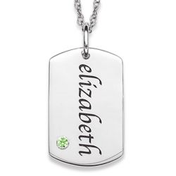 Sterling Silver Name and Birthstone Tag Pendant