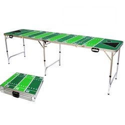 Tailgating Football Field Beer Pong Table with Bottle Opener