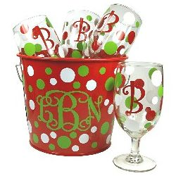 Monogrammed Holiday Gift Pail and Goblets