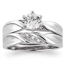 Sterling Silver Cubic Zirconia and Diamond Accent Wedding Ring