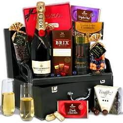 Champagne and Chocolate Filled Suitcase