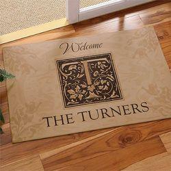 Floral Monogram Personalized Doormat