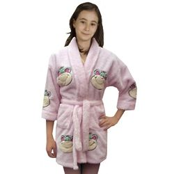 Girl's Monkey Face Applique Plush Bathrobe