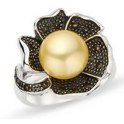 Gold Freshwater Pearl and Smokey Quartz Ring