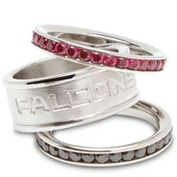 Stainless Steel and Crystal Stacked Atlanta Falcons Rings
