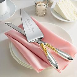 Personalized Marchesa Rose Cake Knife and Server Set