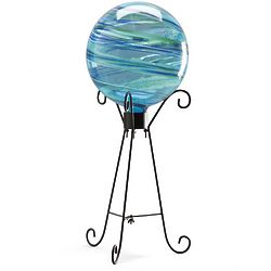 Ocean Mist Glowing Glass Gazing Globe and Stand Set