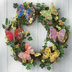 Silken Shimmering Butterfly Wreath