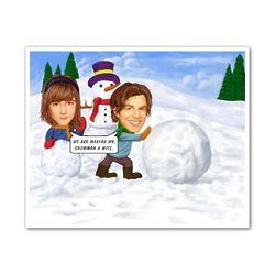 Personalized Snowman Caricature Art Print