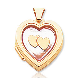 Mother of Pearl 14k Yellow Gold Pink Hearts Locket