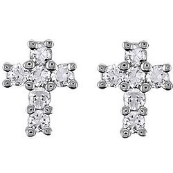 0.5 Carat CZ Sterling Silver Small Cross Stud Earrings