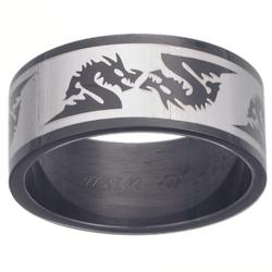 Mens Black Stainless Steel Dragon Engraved Band