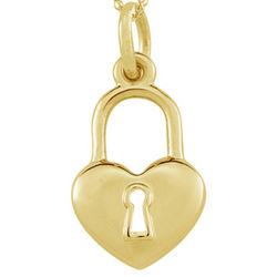 Heart Lock Pendant in 14K Yellow Gold