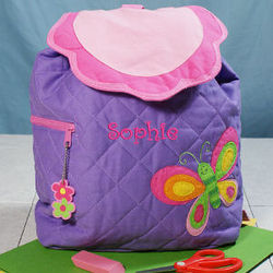 Embroidered Butterfly Quilted Backpack