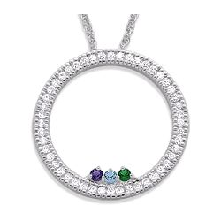 Sterling Silver CZ Circle Birthstone Pendant Necklace