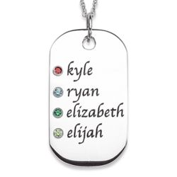Sterling Silver Family Name and Birthstone Tag Pendant
