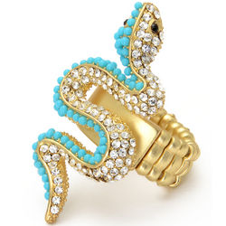 Turquoise and Crystal Snake Stretch Ring