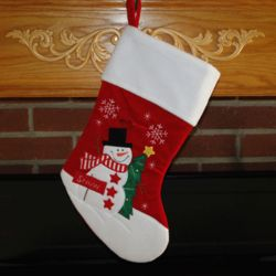 Personalized Snowman with Sign Christmas Stocking