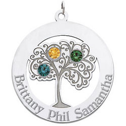Sterling Silver Family Tree Circle Pendant with 3 Stones
