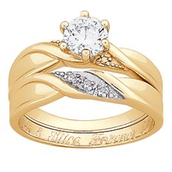 Engraved Cubic Zirconia and Diamond Wedding Ring Set