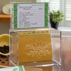 Personalized Damask Acrylic Recipe Box