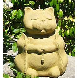 Large Buddha Cast-Stone Cat Sculpture