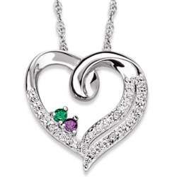 Sterling Silver Couple's Birthstone and Diamond Heart Necklace