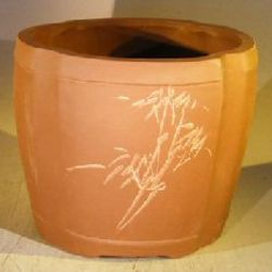 Unglazed Round Cascade Bonsai Pot with Floral Etching
