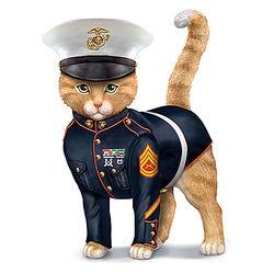Sem-purr Fidelis US Marine Corps Cat Figurine