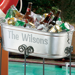 Personalized Galvanized Tub with Stand