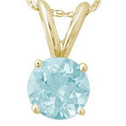 5 mm Round Aquamarine Pendant in 14k Yellow Gold