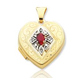 Ruby Diamond 14k Yellow Gold Heart Locket