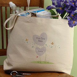 Personalized First Time Grandma© Canvas Tote
