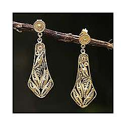 Bells Gold Plated Filigree Earrings