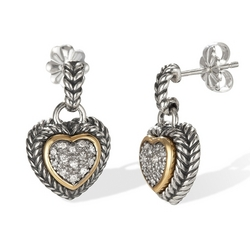 14k Gold and Sterling Silver Diamond Heart Earrings